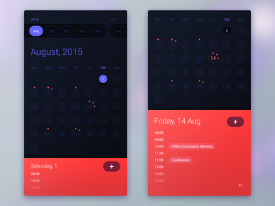 Calendar App interface ux ui mobile app calendar