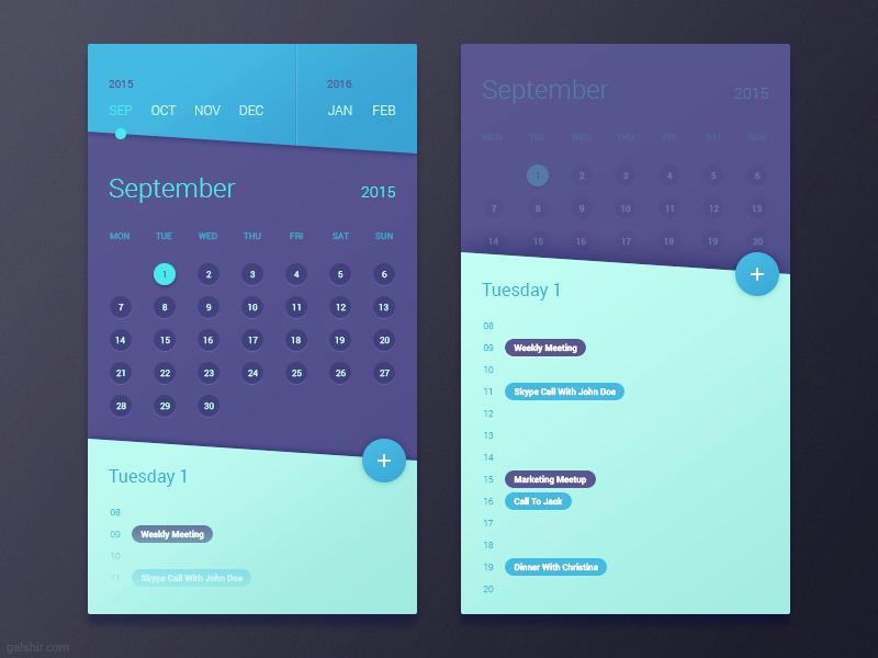 Calendar App Design : Calendar app by gal shir dribbble