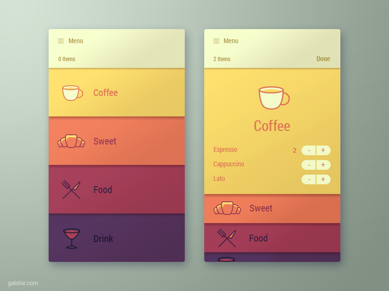 Menu app interface by gal shir dribbble for Designing an iphone app