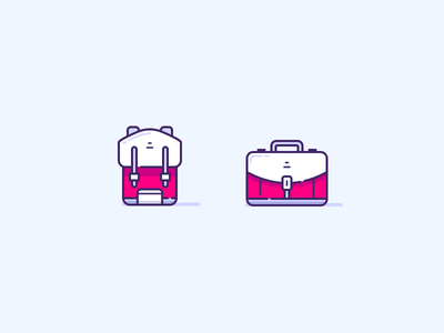 Bag & Suitcase travel luggage packing suitcase bag illustration ux ui icons icon