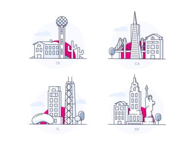Lemonade States buildings icons illustration states usa skyline
