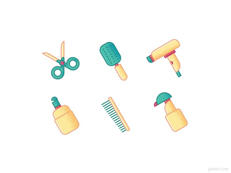 Hairdressing Icons illustration set icons hairdressing