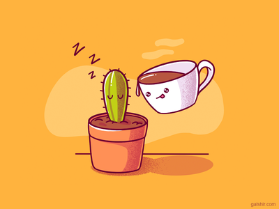 Cactus and a Coffee Mug cute icons drawing illustration mug coffee cactus