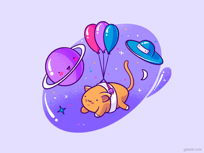 Space Cat balloons cat space drawing characters illustration