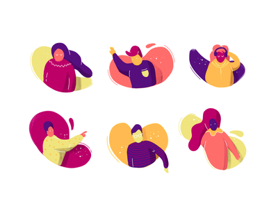 Characters illustration set icons icon characters character