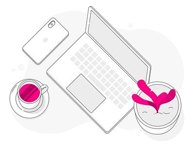 Desktop coffee outline iphone laptop desktop icons illustrations