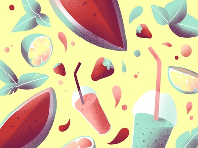 Fruity Wallpaper 🍉 summer icons pattern strawberry watermelon fruits texture illustration wallpaper