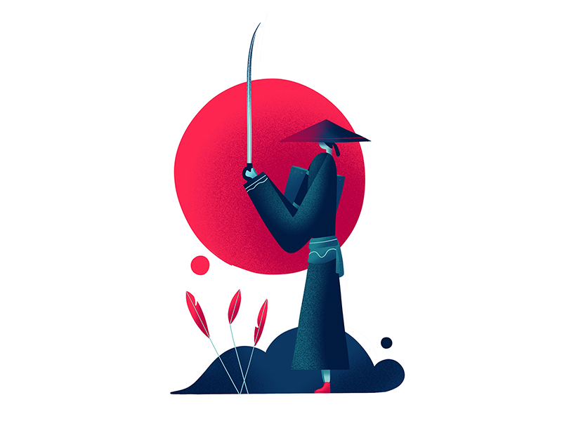 Samurai sword japan illustration character samurai