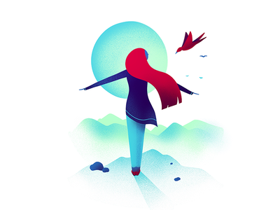 Freedom bird character illustration