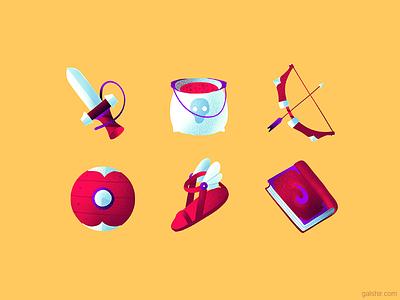 Game Icon Set 🏹 pack magic bow sword fantasy rpg icons