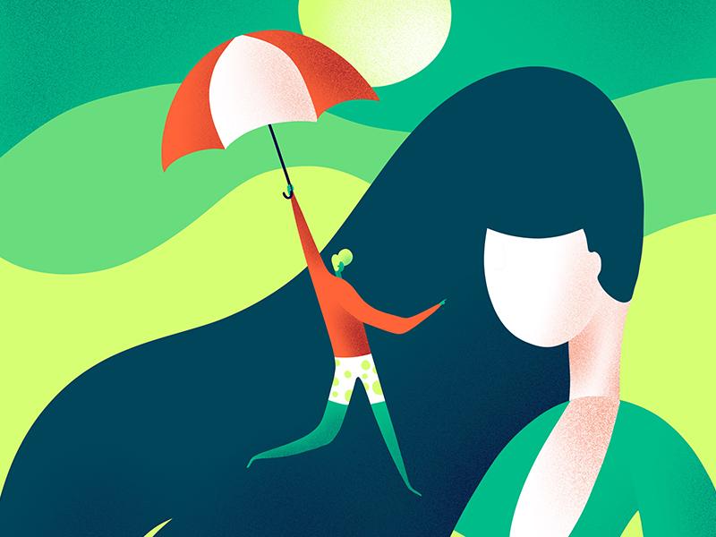 Umbrella texture umbrella character illustration