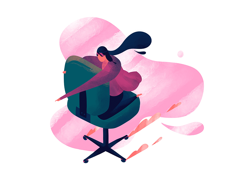 Chair Flying character illustration