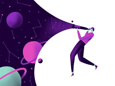 Explorer telescope space characger illustration