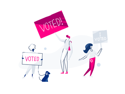 Vote signs characters illustration character