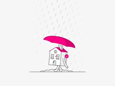 House in the Rain character cycle walk walking pink lemonade umbrella animation rain house