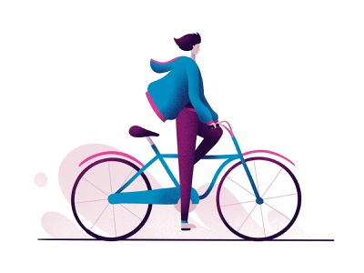 Winter Cycling ride illustration character bicycle bike