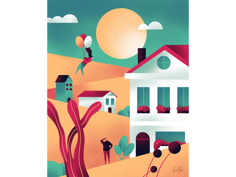 Flying houses house landscape city illustration