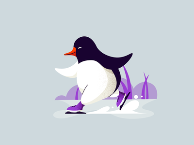 Ice Skating cute character skating ice illustration penguin