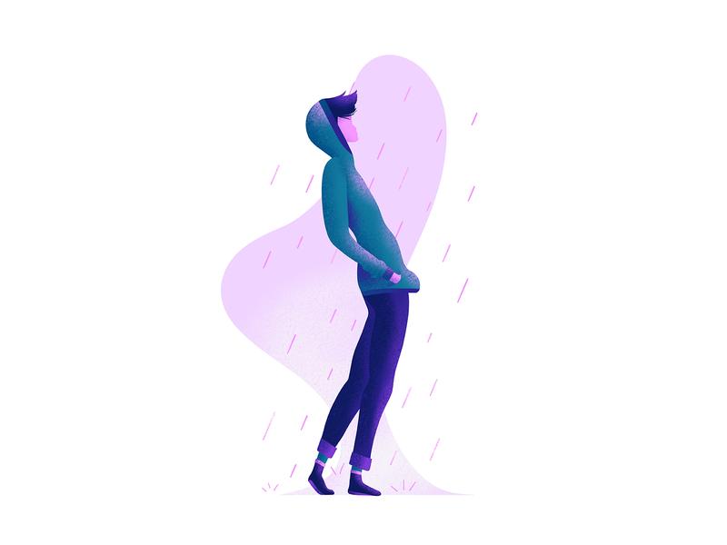 Rain 🌧 winter illustration rain hoodie character