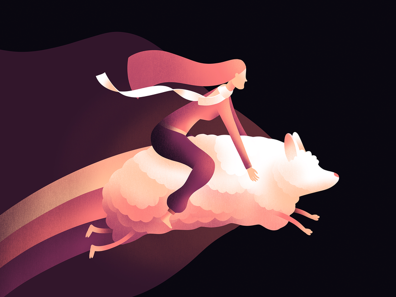 Night Journey sheep character illustration