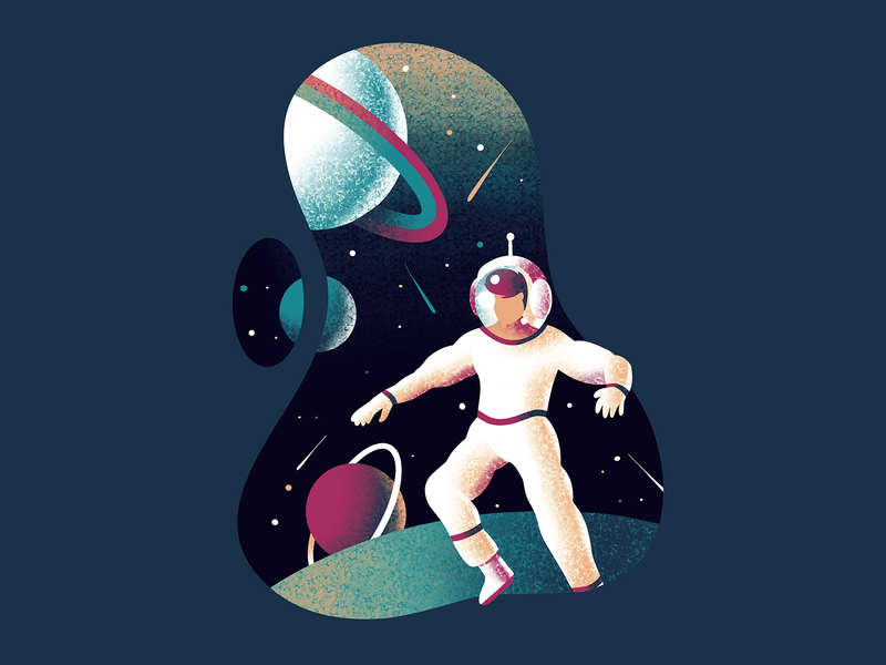 Astronaut 💫 planets stars sky illustration galaxy space astronaut