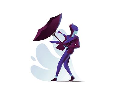 Wind illustration umbrella wind character