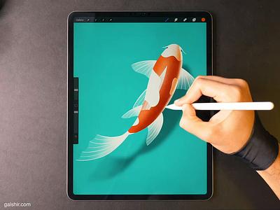 Koi Fish drawing icon illustration koi fish