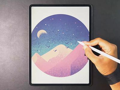 Desert drawing landscape illustration