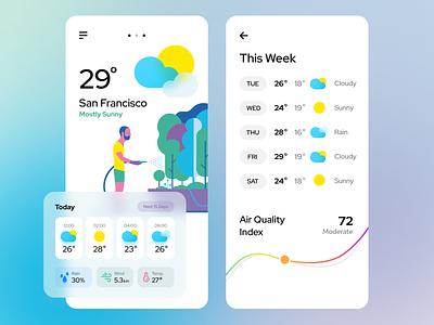 Weather App icons weather app weather ui ux vector design typogaphy illustration branding applications app