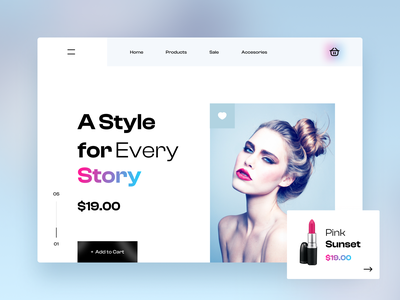 Cosmetic Web illustration design app applications ux typogaphy branding clean glass material flat fashion gradient colour fonts minimal ui cosmetic web