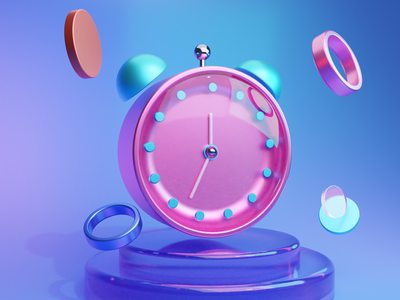 3D Alarm Icon app vector logo illustration branding typogaphy design ux applications ui alarm time 3dicon 3d blender