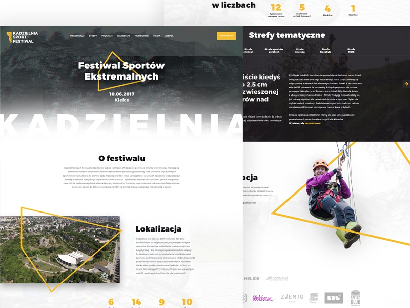 Kadzielnia Sport Festival shadows sports website webdesign web ux ui typography interface