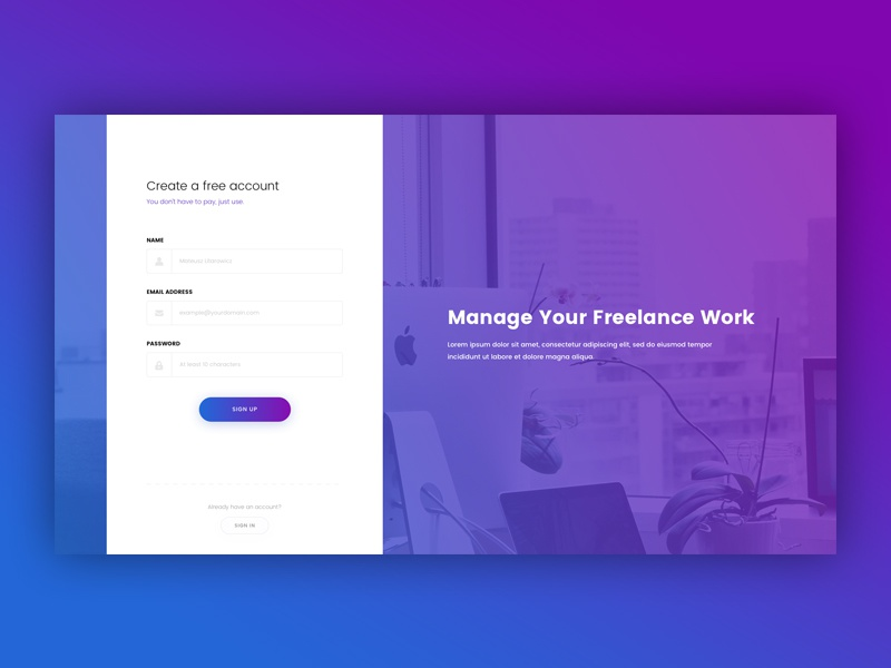Sign Up Page - Daily UI #001 daily challenge gradients design page sign up ux ui dailyui