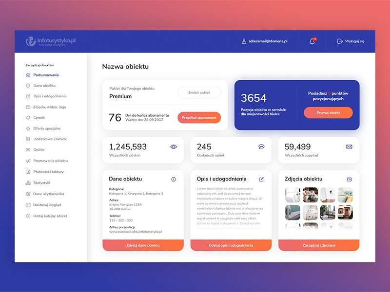 Infoturystyka.pl - Redesign - Dashboard gradient colours gradients interface shadows sidebar ui ux web cards dashboard