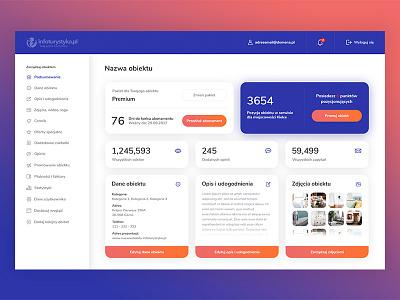 Infoturystyka.pl - Redesign - Dashboard gradient colours gradients interface shadows sidebar ui ux web cards dashboard