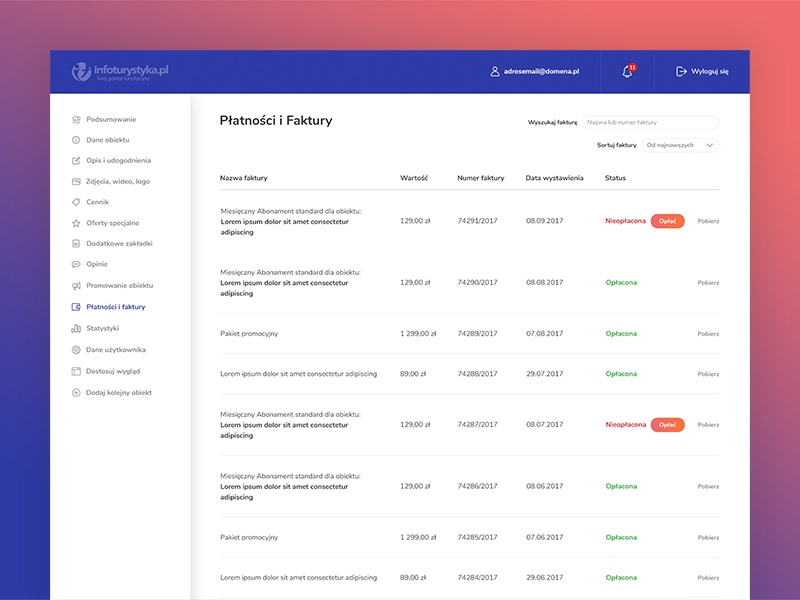 Infoturystyka.pl - Redesign - Payments dashboard cards web ux ui sidebar shadows interface gradients colours gradient