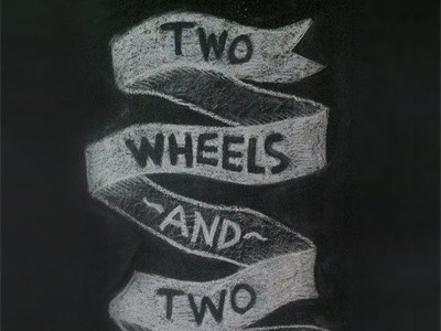 Two Wheels and Two hand drawn chalk art
