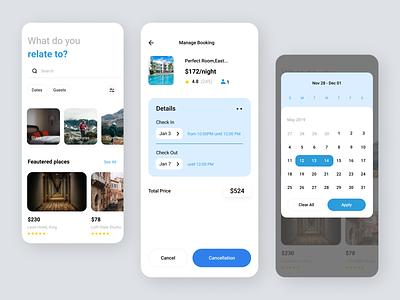 Online hotel booking App art app ui ux design