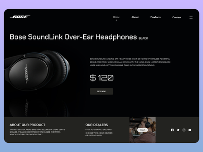 Headphone landing page minimal uidesign newdesign new designs branding web design ux ui