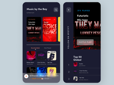 Online Music App minimal web ux ui design