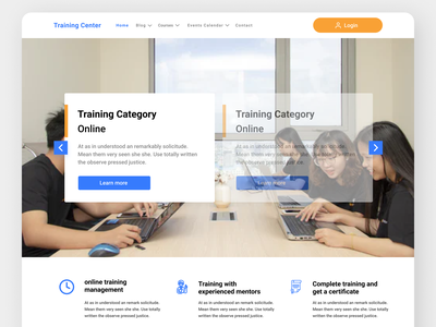 Online Training Web Page Concept web ux ui design