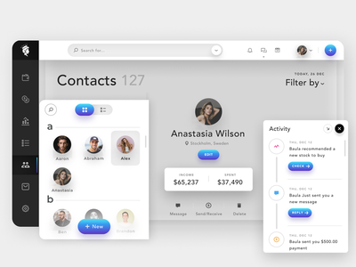 Contacts Dashboard eclean eclean art design web ux ui