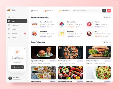 Restaurant Dashboard web branding typography ux ui design