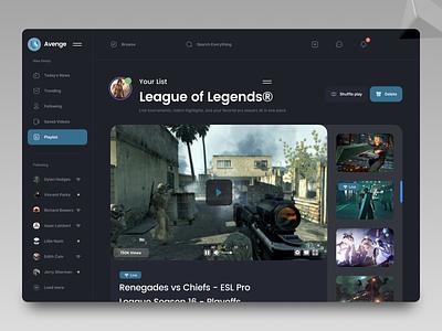Gaming Dashboard web app ux ui design