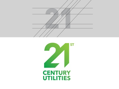 21st Century Utilities green sustainability typography logo branding logotype