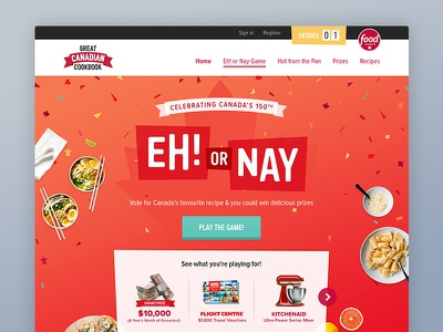 Great Canadian Cookbook Eh! or Nay canadian recipes food ui campaign celebration creative mobile website