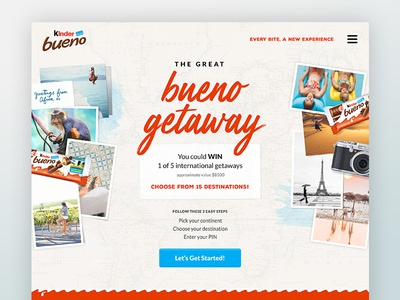 Kinder Bueno Dribbble candy chocolate ui campaign creative quiz contest mobile website
