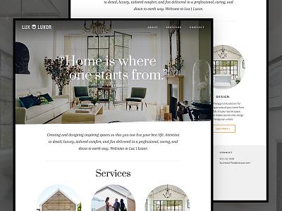 Lux Luxor Website service decor interior design landing page homepage web design website