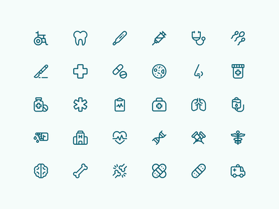 Medical & Health | Bazik Icons icon design icons vsobipan health medical icon set iconography ios ui illustration vector sketch icon