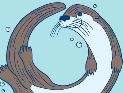 O is for Otter illustration animal otter